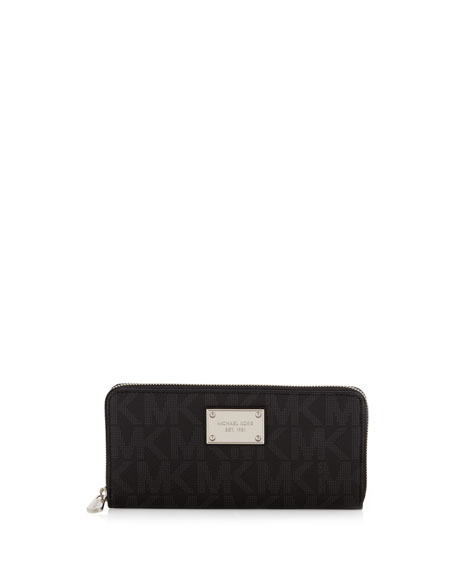 Jet Set Pebbled Continental Wallet, Black