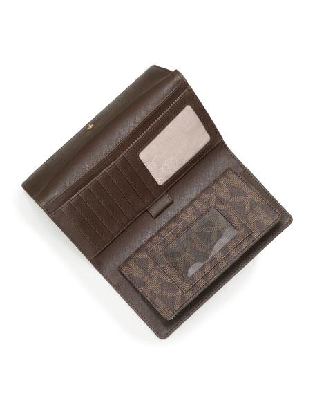 Jet Set Logo Checkbook Wallet, Brown