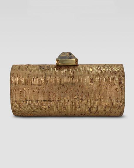 Megan Cork Cylinder Minaudiere, Gold