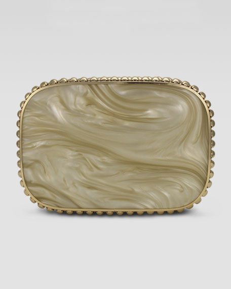 Cassandra Resin Quilted Clutch Bag, Pearl