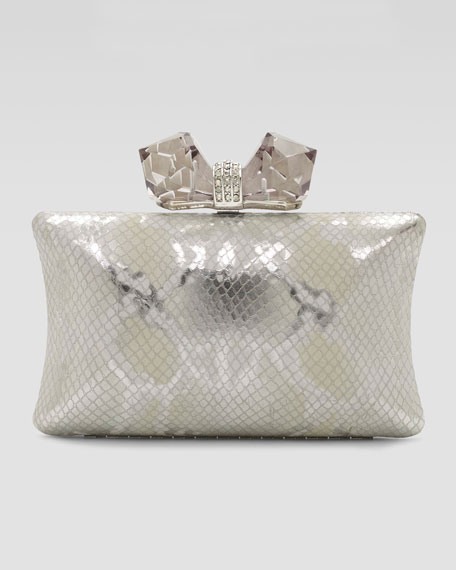 Vanessa Large Concave Clutch Bag, Silver