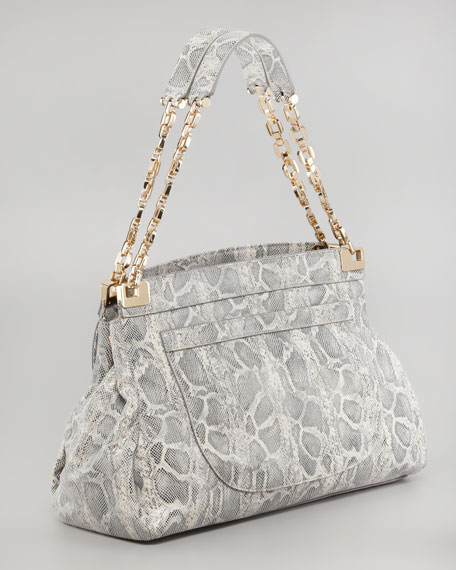 Simon Chain Lizard-Print Shoulder Bag, Natural