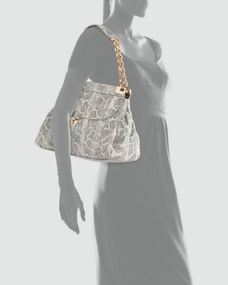 Simon Chain Lizard-Print Shoulder Bag, Natural