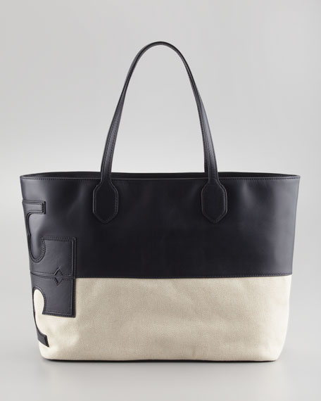Stacked Two-Tone Canvas-Leather Tote Bag