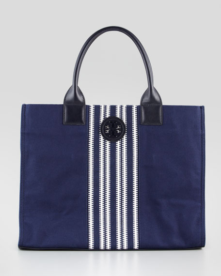 Ella Striped Canvas Tote Bag, Navy