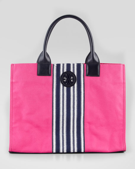 Ella Striped Canvas Tote Bag, Pink