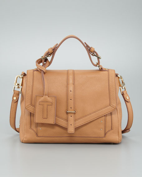 Medium Leather Satchel Bag, Tan