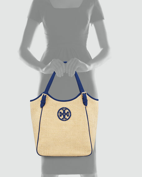 Small Slouchy Straw Tote Bag, Natural/Blue