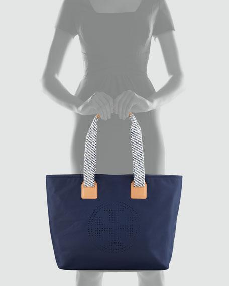 Perforated Logo Nylon Tote Bag, Navy