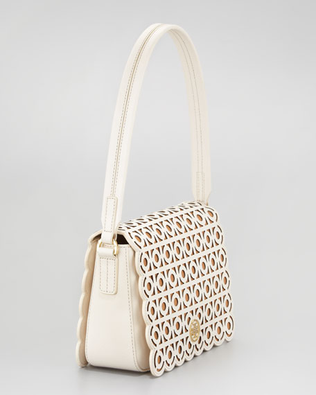 Kelsey Laser-Cut Shoulder Bag, White
