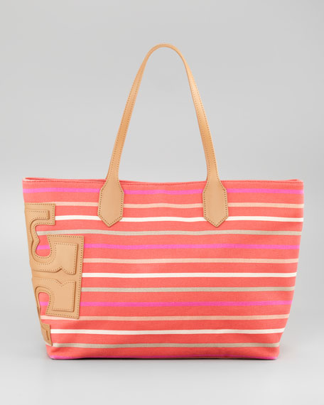 Stacked T Striped Tote Bag, Red