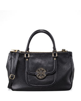 Tory Burch Amanda Double-Zip Tote Bag, Black