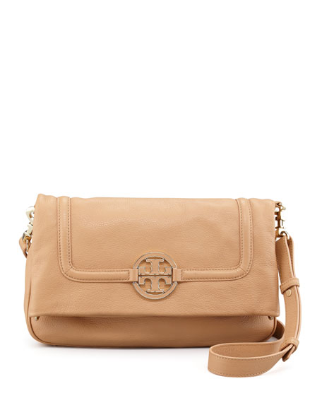 Amanda Fold-Over Messenger Bag, Tan