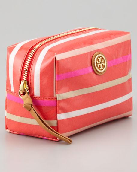 Brigitte Cosmetic Case, Red Stripes