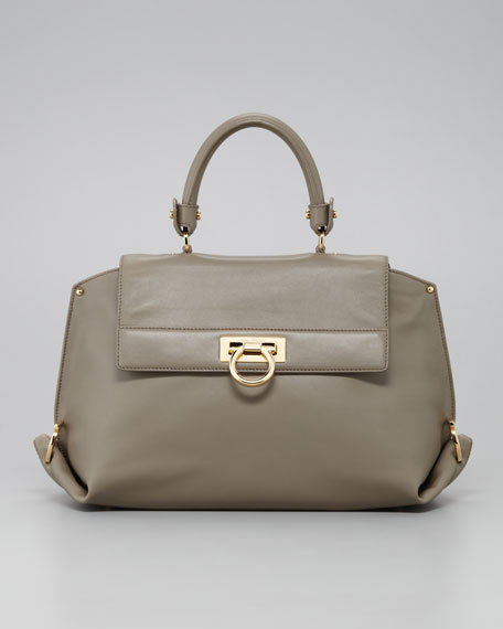 Sofia Satchel Bag, Light Gray