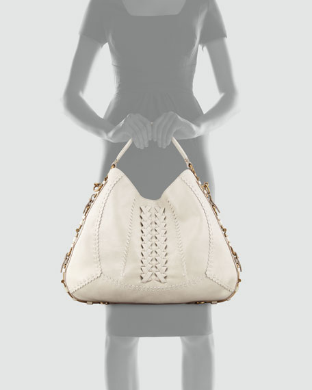 Fergie Braided Leather Gancini Hobo Bag, Clay