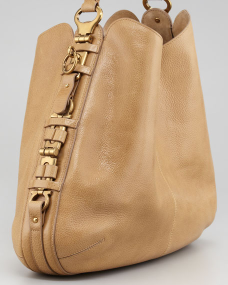 Fergie Gancini Chain Hobo Bag, Tan