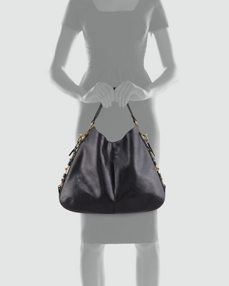 Fergie Gancini Chain Hobo Bag, Black