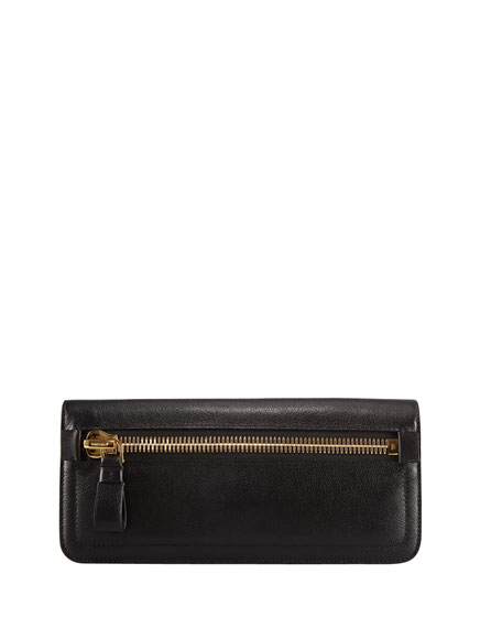Jennifer Zip Calfskin Clutch Bag, Black