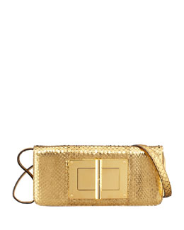 Tom Ford Natalia East-West Python Shoulder Bag, Gold