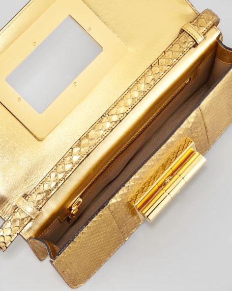 Natalia East-West Python Shoulder Bag, Golden