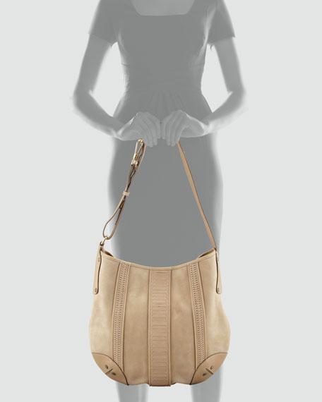 Rowen Suede Hobo Bag, Tan