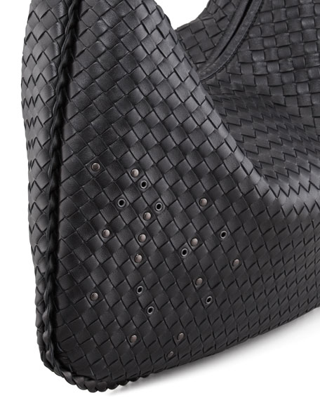 Large Studded Veneta Woven Hobo Bag, Black
