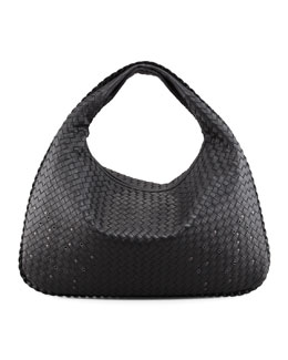 Bottega Veneta Large Studded Veneta Woven Hobo Bag, Black