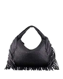 Bottega Veneta Veneta Large Fringed Hobo Bag, Black