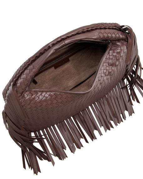 Veneta Fringed Hobo Bag, Dark Brown
