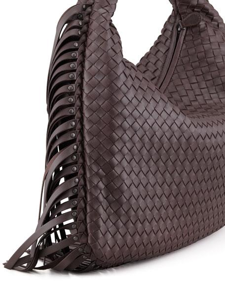 Bottega Veneta Veneta Fringed Hobo Bag, Dark Brown