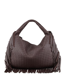 Bottega Veneta Veneta Large Fringed Hobo Bag, Dark Brown