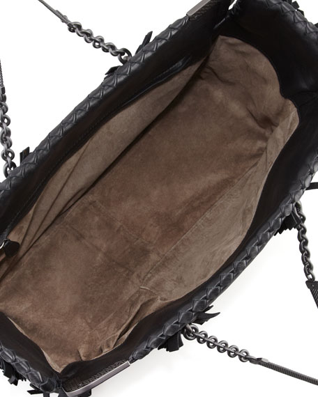 Mini Fringe East-West Tote Bag, Black