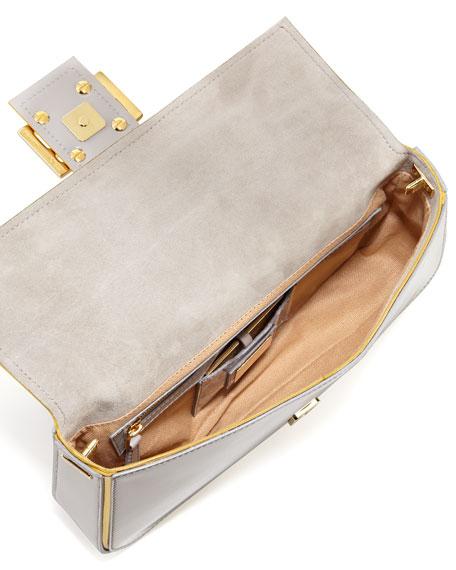Chain-Strap Patent Baguette, Blush