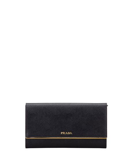 Prada Saffiano Clutch Wallet, Black (Nero)