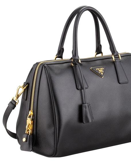 Saffiano Bowler Bag With Strap Black Nero