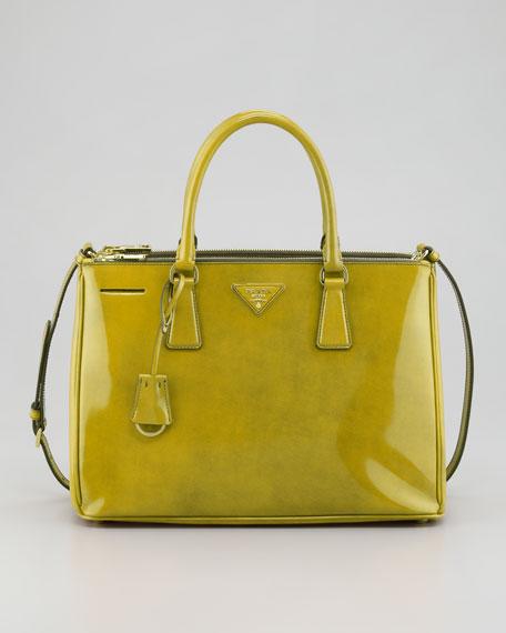 Spazzolato Double-Zip Tote Bag, Yellow