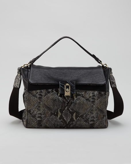 For Me Snake-Embossed Medium Bag, Black
