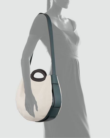 Colorblock Shoulder-Strap Tote Bag