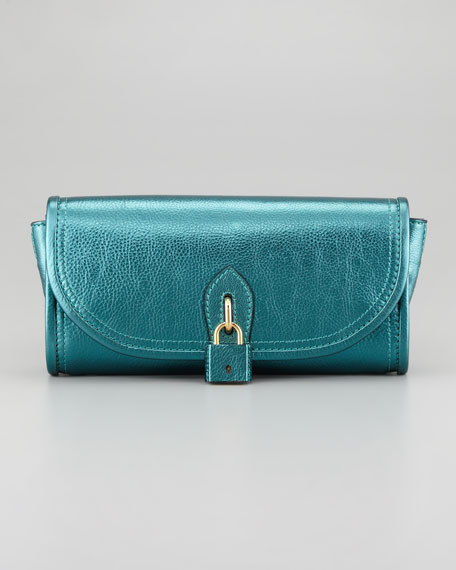 Metallic Padlock Clutch Bag, Blue