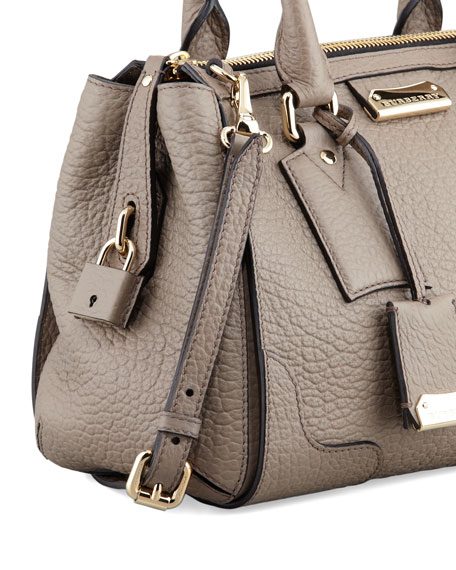 Small Padlock Satchel Bag, Pale Taupe Brown
