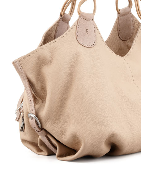 Lara Large Cervo Leather Hobo Bag, Sand
