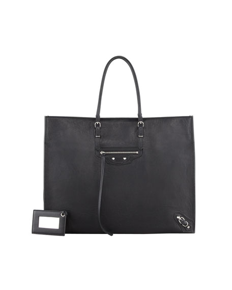 Giant 12 Nickel Papier A4 Leather Tote Bag, Black