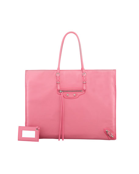 Giant 12 Nickel Papier A4 Leather Tote Bag, Pink