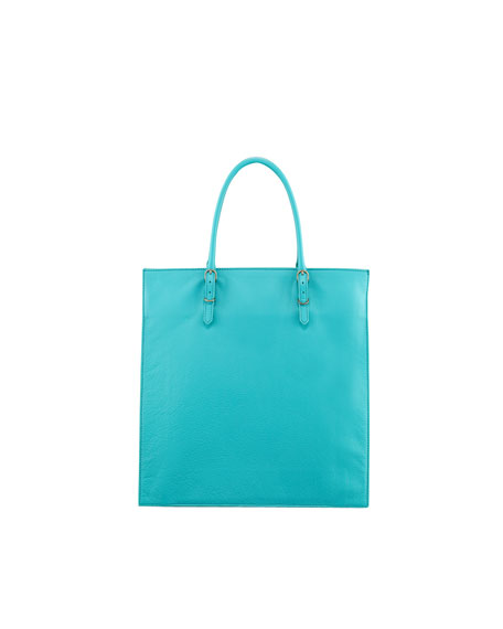 Papier Triple A5 Leather Tote Bag, Turquoise