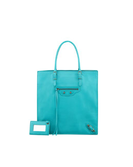 Balenciaga Papier Triple A5 Leather Tote Bag, Turquoise