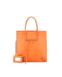 Balenciaga Papier Triple A5 Leather Tote Bag, Orange