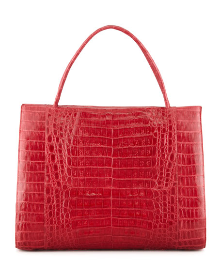 Double-Handle Framed Croc Tote Bag, Red