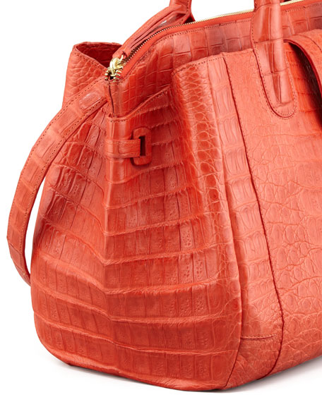 Medium Crocodile Tote Bag, Orange (Made to Order)