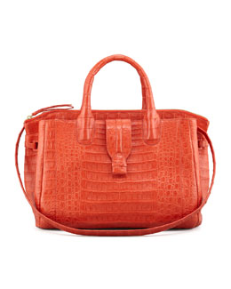 Nancy Gonzalez Medium Crocodile Tote Bag, Orange (Made to Order)